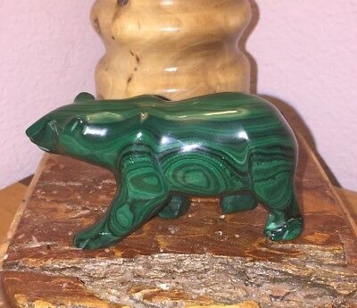 "Natural Green Malachite 3 1/2"" Carved Walking Bear Fetish Figurine"