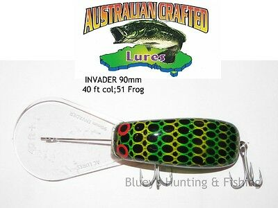 Australian Crafted Lures- cod 90mm invader frog col;51  40ft a.c.lures