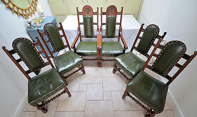 Antique oak leather studded dining chairs and carvers in excellent condition