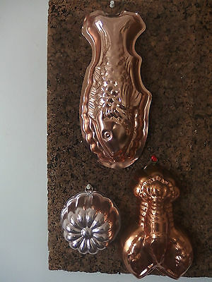 JELLY MOULDS/ WALL HANGINGS~~FISH, CRAB & FLOWER~~2 xAnodised & 1 Copper