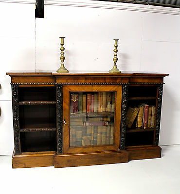 A Very Good Victorian Burr Walnut Open Bookcase
