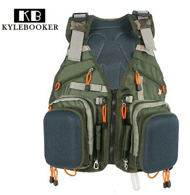 Army Green Adjustable Fly Fishing Vest Pack Multifunction Pockets Outdoor