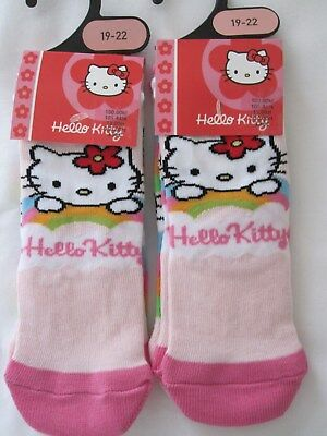 "Bnwt - 4 Pairs ""Hello Kitty"" Pink And Multi Trainer Character Socks - Size 19-22"