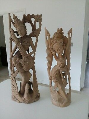 Balinese Hand carved wooden statues Indonesia - Bali