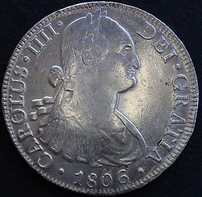 Rare! Genuine 1806 TH Silver 8 Reales Spanish Monarchy Carolus 4