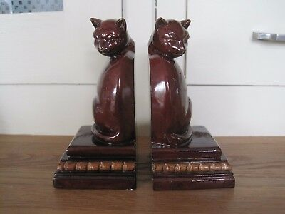 Pair Of Past Times Book Ends Cat On Plinth