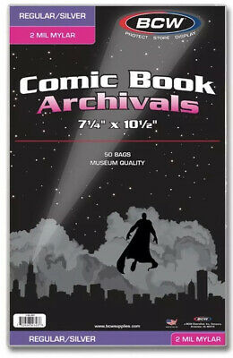 Pack of 50 Bags BCW Silver Comic Mylar Archivals - 2 Mil. 7 1/4 x 10 1/2 (#CS92)
