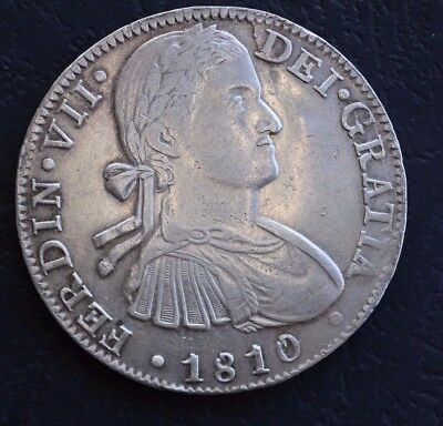 Rare! Genuine 1810 HJ Silver 8 Reales Spanish Monarchy Ferdinand 7