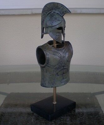 Greek Spartan Corinthian Small Bronze Helmet&Armor With Owl - Antique Style