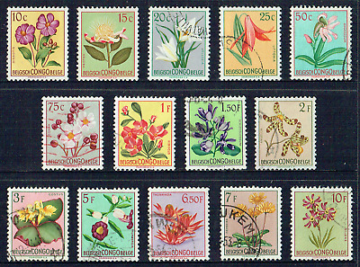 "BELGIAN CONGO 1952, Fine Set of 14 ""Native Flowers"",  Mint/used, 4567"