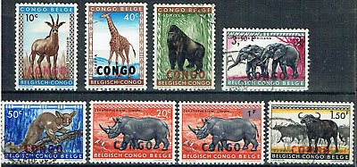 "BELGIAN CONGO 1959, 8 ""WILD ANIMALS"" to 3.5F Elephants, 1960 Opt. ""CONGO"",  4565"