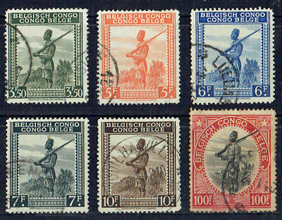 "BELGIAN CONGO 1942,  Set of 6 light used to 100f, ""Askari Sentry"", 4568"