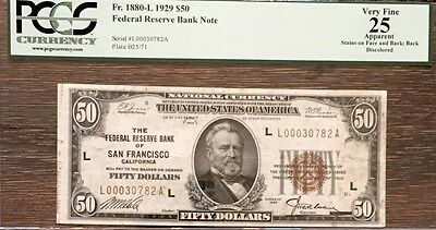 1929 $50 Federal Reserve Bank Note PCGS VF25