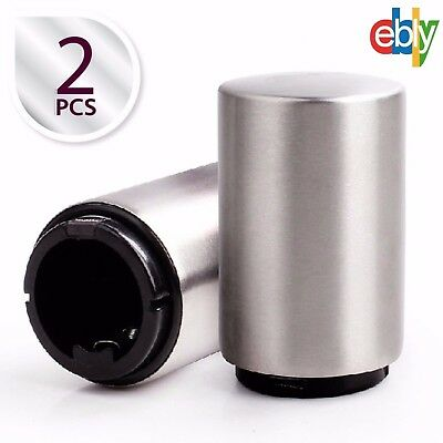 New 2 Pack Beer Bottle Opener with Magnetic Cap Catcher Pop it Gift ,Silver