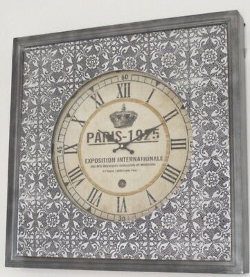 Blackened Embossed Antique Silver Grey Metal Wall Clock Paris French Styling