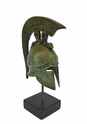 Helmet bronze marble based ancient Greek reproduction miniature artifact