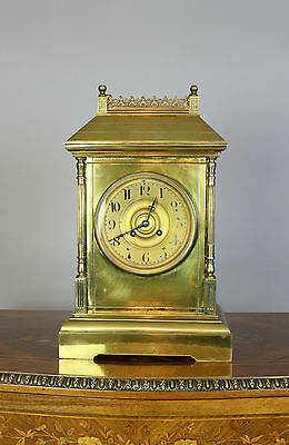 A Victorian Brass Mantle Clock Labelled H. Bilton