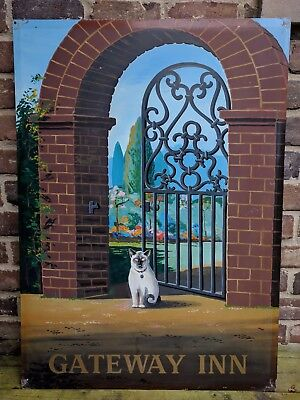 "Vintage English ""Gateway Inn"" Pub Sign w/ Brick Arch, Iron Gate & Siamese Cat"