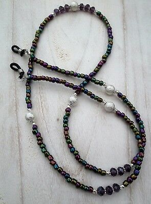 * Purple Tonic * Glasses Chain  Spectacles Holder  Eyeglass Strap  Beaded Cord