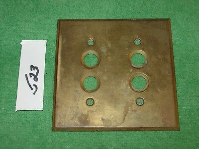 Vintage Brass Antique Double Push Button Wall Light Switch Plate Cover