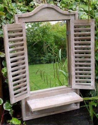 NEW Rustic Natural Wood Wooden Shutter Mirror With Shelf 70cm Bathroom Garden