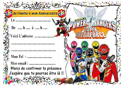 5 cartes invitation anniversaire power rangers megaforce 01
