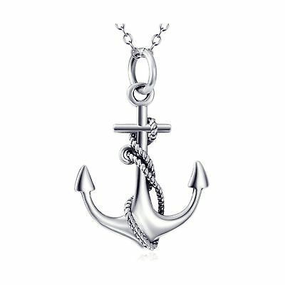 """Angel caller Real 925 Sterling Silver Ship Anchor and Rope Nautical Necklace 18"""""""