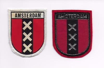 Amsterdam Netherlands Holland Two Old Woven Printed Travel Souvenir Patches