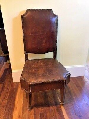 Antique Renaissance Chair Original Leather Upholstery&Finish Spade Legs
