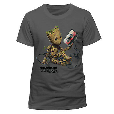 Guardians Of The Galaxy Vol 2. Baby Groot Tangled Cassette Tape Charcoal T-Shirt