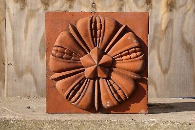 Victorian 1897 terracotta decorative tile (6x6in) with Flower motife (1 of 2)