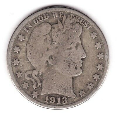 1913 - D Barber Half Dollar - Circulated