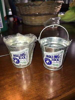 rolling rock beer Mini Galvanized buckets, Set Of Two New RARE 2 Inch X 2.5 Inch