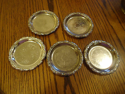 Vintage Silver Plate Coasters Ornate, Scalloped edge. Made In Italy Set of 5
