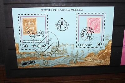 "Cuba 1986 ""int.stamp Exhibition Stockholmia 86"" Used Block (Cat.a)"