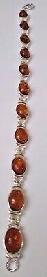 Baltic Amber Link Bracelet Sterling Silver Jewelry/NEW/Poland/FREE SHIP IN USA