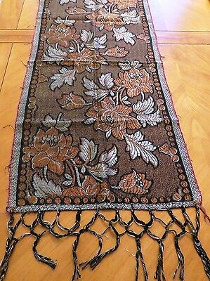 Antique Runner Fringed Table Scarf Brocade Silver Copper Flowers Motif