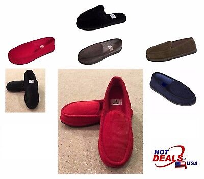New Men House Slipper Corduroy Moccasin Shoes Slip on Size 4 to 13