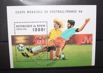 "Francobolli Benin 1996 ""world Cup France 98 - Football"" Used Block (Cat.j)"