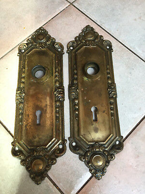 Vintage Antique Ornate Victorian Door Backplates Brass Wash