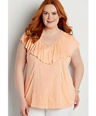 f45d725d894 Maurices~New With Tags~Fancy Top with Lace Overlay   Ruffle~Plus Size