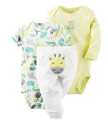 Carter's Baby Boy Girl Unisex 3 Piece Yellow Giraffe Bodysuits & Pants 9 Months