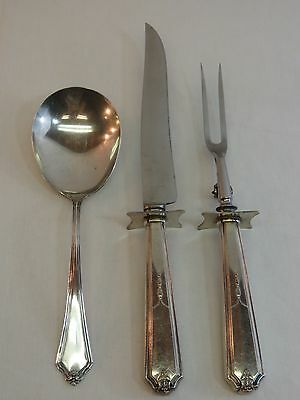 Silverplate Carving Knife Fork Antique Silverware Lot 3 pc Mixed Serving Spoon