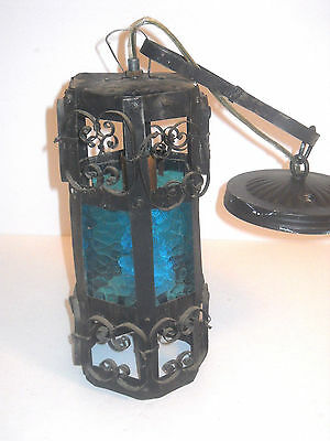 Vintage Spanish Revival Gothic METAL BLUE GLASS Light Hanging Pendant Swag Lamp