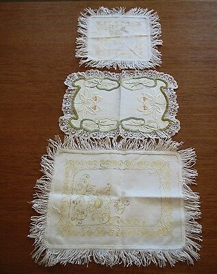 Antique Embroidered Doilies White Doily Table Dresser Tray Mat Embroidery