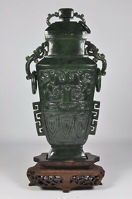 Fine Old China Chinese Carved Spinach Green Jade Urn Vase Sculpture Scholar Art