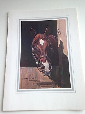 Collectible Thoroughbred Horse Folded Card 7 X5 Artist Orren Mixer-Three Bars