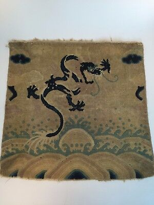Antique Old Chinese Estate Small Imperial 5-Clawed Dragon Carpet Rug