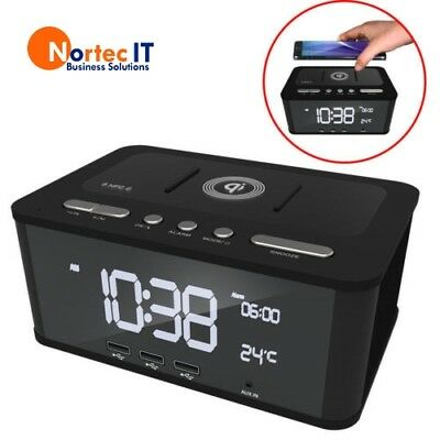 Laser FM Radio/AUX Bluetooth/NFC Speaker/3x USB /Qi Wireless Charging SPK-QC001