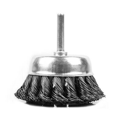 Knotted Wire Wheel Brush for Cleaning Removes Rust Scale Paint Arbor 6mm 3inch